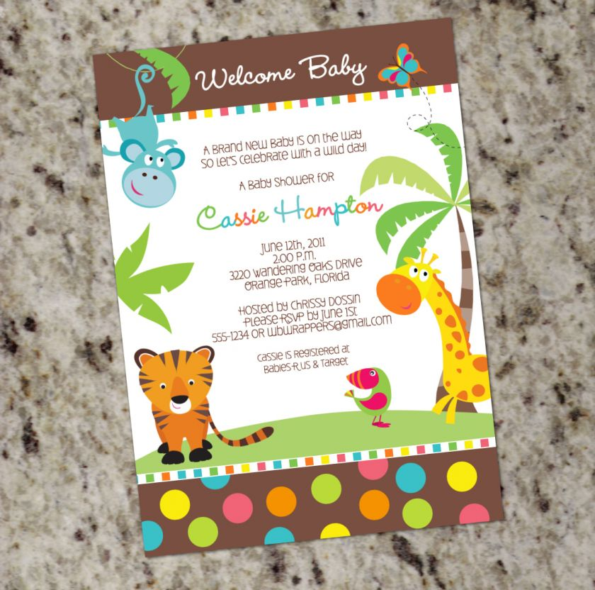 Safari Themed*   Baby Shower Invitations   Gender Neutral