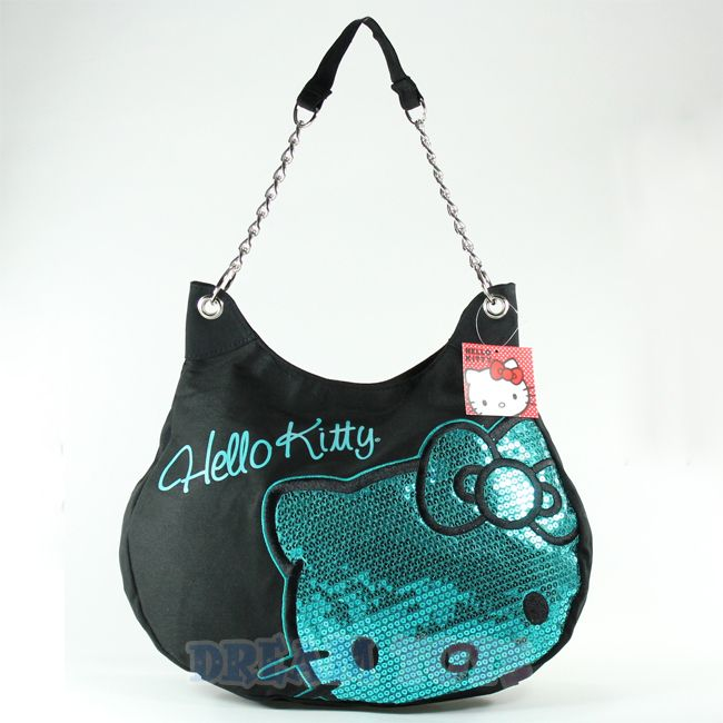 Sanrio Hello Kitty Face Metallic Teal Purse   Bag