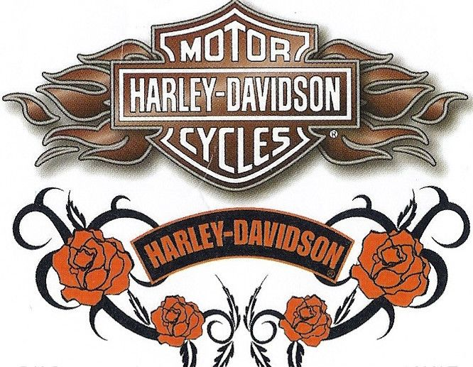 Harley Davidson Bar & Shield with Roses Tattoo Decal